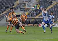 Hull City's Josh Magennis heads for goal but it goes wide <br /> <br /> Photographer Lee Parker/CameraSport<br /> <br /> The EFL Sky Bet League One - Hull City v Bristol Rovers - Saturday 6th March 2021 - KCOM Stadium - Kingston upon Hull<br /> <br /> World Copyright © 2021 CameraSport. All rights reserved. 43 Linden Ave. Countesthorpe. Leicester. England. LE8 5PG - Tel: +44 (0) 116 277 4147 - admin@camerasport.com - www.camerasport.com