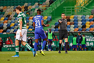 Referee point to the penalty kick during the Liga NOS match between Sporting Lisbon and Belenenses SAD at Estadio Jose Alvalade, Lisbon, Portugal on 21 April 2021.