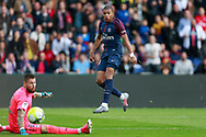 Paris Saint Germain's French forward Kylian Mbappe scores during the French Championship Ligue 1 football match between Paris Saint-Germain and Girondins de Bordeaux on September 30, 2017 at the Parc des Princes stadium in Paris, France - Photo Benjamin Cremel / ProSportsImages / DPPI