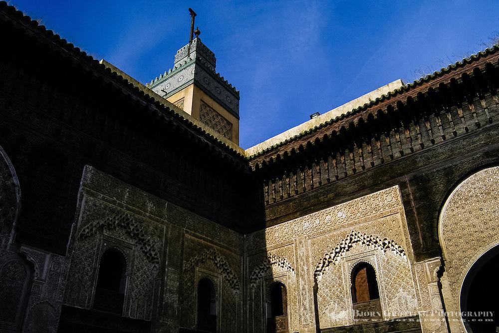 Morocco. The Madrasa Bou Inania (also Bu Inaniya) is an islamic school in the medina in Fes.