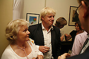 MARIGOLD JOHNSON AND BORIS JOHNSON. The Spectator At Home. Doughty St. 6 July 2006. ONE TIME USE ONLY - DO NOT ARCHIVE  © Copyright Photograph by Dafydd Jones 66 Stockwell Park Rd. London SW9 0DA Tel 020 7733 0108 www.dafjones.com