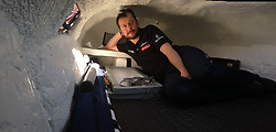 Nick Hancock inside his unique RockPod. He will be staying in this pod during his unique 60 day endurance RockallSolo expedition on Rockall. Photo taken on an iPhone5 using the panoramic feature....