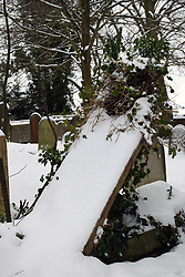 Snow comes to Norwich, UK February 2021. Rosary Cemetery - opened in 1819, first non-denominational burial ground in the UK