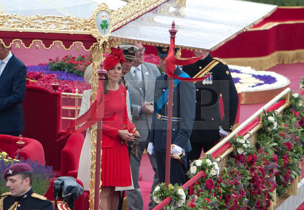© Licensed to London News Pictures. 03/06/2012. .London, England. .Kate Middleton onboard the Royal Barge Gloriana at The Thames river pageant. The Royal Jubilee celebrations. Great Britain is celebrating the 60th  anniversary of the countries Monarch HRH Queen Elizabeth II accession to the throne this weekend Photo credit : LNP