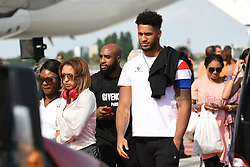 Tony Yoka and Estelle Mossely seen upon Team France's arrival at the Roissy-Charles de Gaulle airport on the outskirts of Paris, France, on July 16, 2018 after winning the Russia 2018 World Cup final football match. Photo by ABACAPRESS.COM