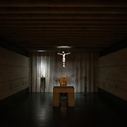 A chapel in the crypt underneath the Metropolitan Cathedral of Santiago (Catedral Metropolitana de Santiago) in the heart of Santiago, Chile, facing Plaza de Armas. The original cathedral was constructed during the period 1748 to 1800 (with subsequent alterations) of a neoclassical design.