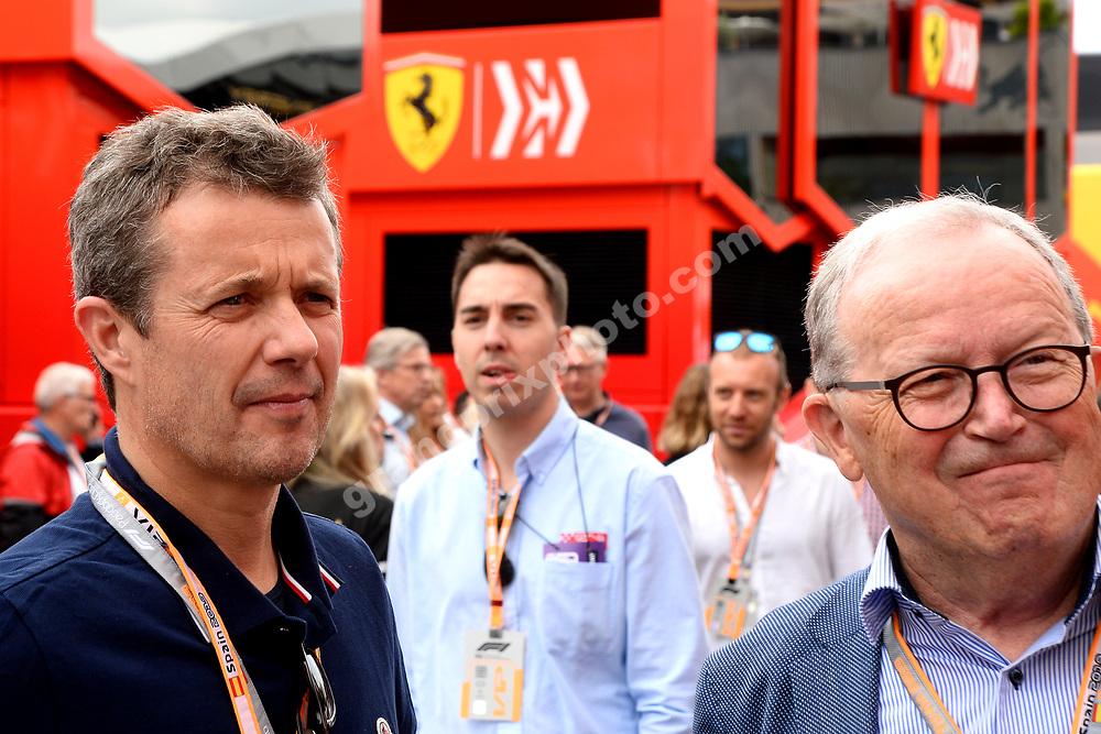 Frederik, crown prince of Denmark, and Kjeld Kirk Kristiansen before the 2019 Spanish Grand Prix at the Circuit de Barcelona-Catalunya. Photo: Grand Prix Photo