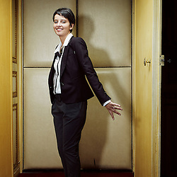 PARIS, FRANCE. NOVEMBER 2012, 29. Najat Vallaud-Belkacem, French Minister for the Women's Rights, in her office. Photo: Antoine Doyen