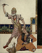 I Am He Whom People Call El Samit The Silent! Colour illustration of The Story Told By The Tailor The Young Man And The Barber<br /> from the book '  More tales from the Arabian nights, based on the translation from the Arabic ' by Edward William Lane and Frances Jenkins Olcott, Publisher New York, H. Holt and company 1915