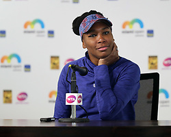 March 23, 2018 - Key Biscayne, Florida, United States Of America - KEY BISCAYNE, FL - MARCH 23: (EXCLUSIVE COVERAGE) Venus Williams at her press conference on day 5 of the Miami Open at Crandon Park Tennis Center on March 23, 2018 in Key Biscayne, Florida. ...People:  Venus Williams. (Credit Image: © SMG via ZUMA Wire)