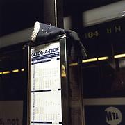 Blue Ladies glove. Broadway at 104th Street (M104 Stop) 14-Dec. 2002 / 6.45 PM