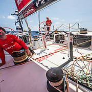 Leg 6 to Auckland, day 15 on board MAPFRE, Xabi Fernandez stearing and Pablo Arrarte trimming, drone shot during a close batle with Dongfeng  . 21 February, 2018.