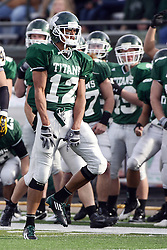 12 November 2011:  Doing the happy dance is Joey Driver who is promptly l\flagged for too much exuberance  during an NCAA division 3 football game between the Augustana Vikings and the Illinois Wesleyan Titans in Tucci Stadium on Wilder Field, Bloomington IL