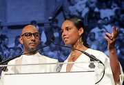 NEW YORK, NEW YORK-JUNE 4: (L-R) Recording Artist Alicia Keys and Music Producer Kasseem Dean aka Swizzbeatz attend the 2019 Gordon Parks Foundation Awards Dinner and Auction Inside celebrating the Arts & Social Justice held at Cipriani 42nd Street on June 4, 2019 in New York City. (Photo by Terrence Jennings/terrencejennings.com)