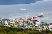 Elevated view of Ushuaia the capital of Tierra del Fuego, Antartida e Islas del Atlantico Sur Province, Argentina. Cityscape with the harbour