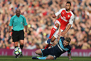 Adam Clayton of Middlesbrough intercepts Francis Coquelin of Arsenal. Premier league match, Arsenal v Middlesbrough at the Emirates Stadium in London on Saturday 22nd October 2016.<br /> pic by John Patrick Fletcher, Andrew Orchard sports photography.