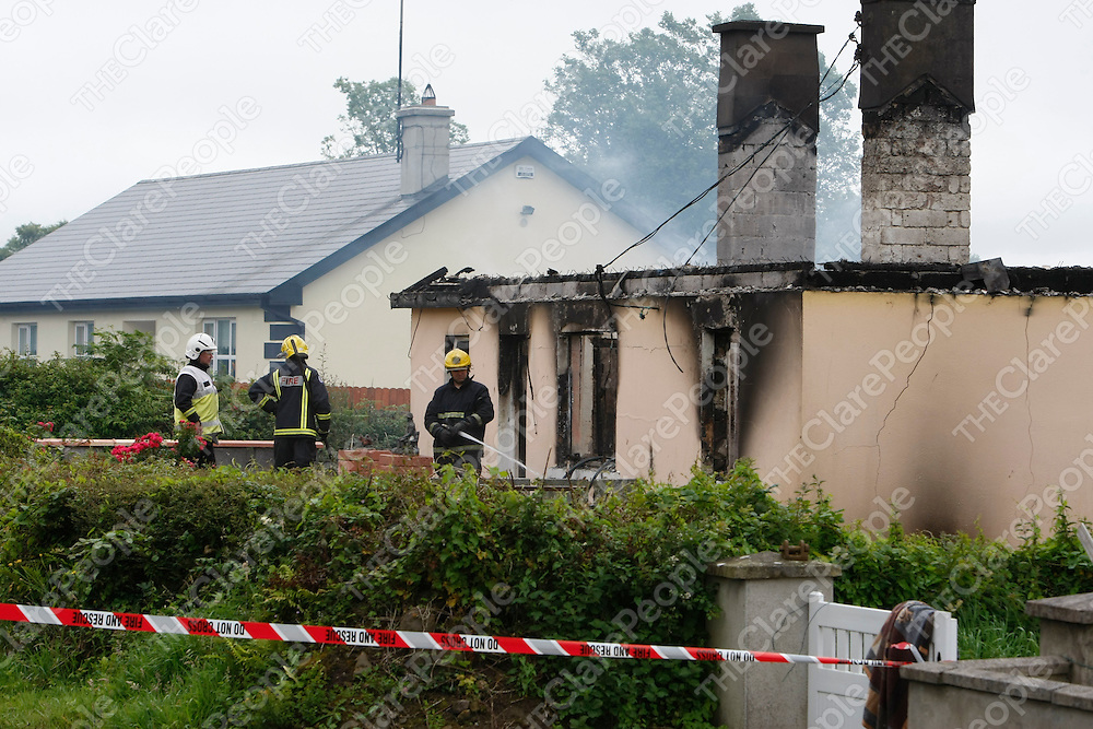 The House in Woodcock Hill, Cratloe, Co Clare that was destroyed by Fire this Monday Morning being Dowsed by the Fire Services.<br /> Picture Credit: Brian Gavin/Press 22