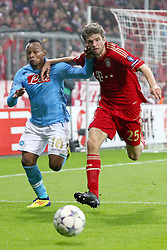 02.11.2011, Allianz Arena, Muenchen, GER, UEFA CL, FC Bayern Muenchen vs. SSC Neapel, im Bild Juan Zuniga (Neapel #18) im kampf mit Thomas Mueller (Bayern #25)  // during the CL match  FC Bayern Muenchen (GER)  vs.  SSC Neapel  (ITA) Gruppe A, on 2011/11/02, Allianz Arena, Munich, Germany, EXPA Pictures © 2011, PhotoCredit: EXPA/ nph/  Straubmeier       ****** out of GER / CRO  / BEL ******