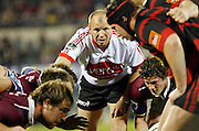 Referee Lyndon Bray watches over the scrum while Southland halfback Adam Clarke (lower right) looks to feed the ball in during the Air New Zealand Cup week 4 Ranfurly Shield match between Canterbury and Southland on Friday August 18, 2006 at Jade Stadium in Christchurch, New Zealand. Canterbury won the game 24-7. Photo: Jim Helsel/Photosport