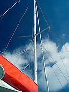 Mast of the sailboat Carino; out of Paihia, Bay of Islands, Northland, New Zealand.