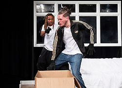 The Removal Service <br /> By Will Pattle and Alice Briganti <br /> Directed by Luke Adamson<br /> Presented by OVO<br /> At The Maltings Theatre, St. Albans, Hertfordshire, Great Britain <br /> Rehearsal / press photo call <br /> 12th March 2021 <br /> <br /> Live stream:<br /> Saturday 13th March 2021 at 7.30pm<br /> <br /> Recording available to stream:<br /> Sunday 14th to Saturday 27th March 2021<br /> <br /> WILL PATTLE as Greg<br /> CHICHO TCHE as Zeek<br /> DAVID WIDDOWSON as Chris<br /> FELIPE PACHECO as Cleaner<br /> Set design by Simon Nicholas<br /> Costume design by Delga Martineau<br /> Lighting design by Adam Bottomley<br /> <br /> Photograph by Elliott Franks