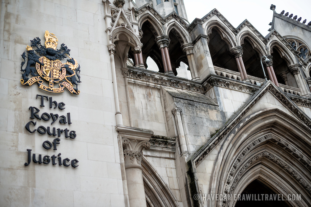 The main entrance to the Royal Courts of Justice on Fleet Street in London.