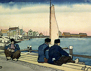 Waiting for Wind and Tide', 1906. Watercolour.  Edward Penfield (1866-1925) American artist and illustrator.   Illustration for 'The Magenta Village', in Scribner's Magazine. Netherlands Dutch Harbour Sailor Seaman Clogs Sail