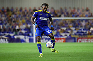 AFC Wimbledon defender Darnell Johnson (27) controlling the ball during the EFL Sky Bet League 1 match between AFC Wimbledon and Gillingham at Plough Lane, London, United Kingdom on 23 February 2021.