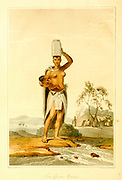 A Kora Hottentot Woman with jug on head A voyage to Cochinchina, in the years 1792 and 1793. To which is annexed an account of a journey made in the years 1801 and 1802, to the residence of the chief of the Booshuana nation by Sir John Barrow, 1764-1848 Published in London in 1806 by T. Cadell and W. Davies