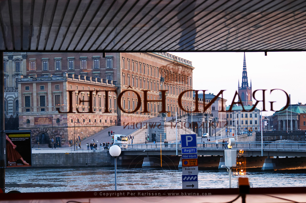The Swedish Royal Palace in the Gamla Stan, Old Town. Seen from the lobby of the luxury Grand Hotel. Stockholm. Sweden, Europe.