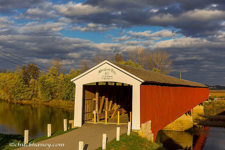 Covered Bridge over the East Fork of the White River in Medora, Indiana, USA