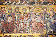 The Medieval mosaics of the ceiling of The Baptistry of Florence Duomo ( Battistero di San Giovanni ) showing the Apostles seated,  started in 1225 by Venetian craftsmen in a Byzantine style and completed in the 14th century. Florence Italy .<br /> <br /> If you prefer you can also buy from our ALAMY PHOTO LIBRARY  Collection visit : https://www.alamy.com/portfolio/paul-williams-funkystock/byzantine-art-antiquities.html . Type -   Florence   - into the LOWER SEARCH WITHIN GALLERY box. Refine search by adding subject etc<br /> <br /> Visit our BYZANTINE ART PHOTO COLLECTION for more   photos  to download or buy as prints https://funkystock.photoshelter.com/gallery-collection/Roman-Byzantine-Art-Artefacts-Antiquities-Historic-Sites-Pictures-Images-of/C0000lW_87AclrOk .<br /> <br /> Visit our ITALY PHOTO COLLECTION for more   photos of Italy to download or buy as prints https://funkystock.photoshelter.com/gallery-collection/2b-Pictures-Images-of-Italy-Photos-of-Italian-Historic-Landmark-Sites/C0000qxA2zGFjd_k<br /> .<br /> <br /> Visit our MEDIEVAL PHOTO COLLECTIONS for more   photos  to download or buy as prints https://funkystock.photoshelter.com/gallery-collection/Medieval-Middle-Ages-Historic-Places-Arcaeological-Sites-Pictures-Images-of/C0000B5ZA54_WD0s
