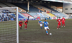 Jonson Clarke-Harris of Peterborough United scores the winning goal against Wigan Athletic from the penalty spot - Mandatory by-line: Joe Dent/JMP - 27/02/2021 - FOOTBALL - Weston Homes Stadium - Peterborough, England - Peterborough United v Wigan Athletic - Sky Bet League One