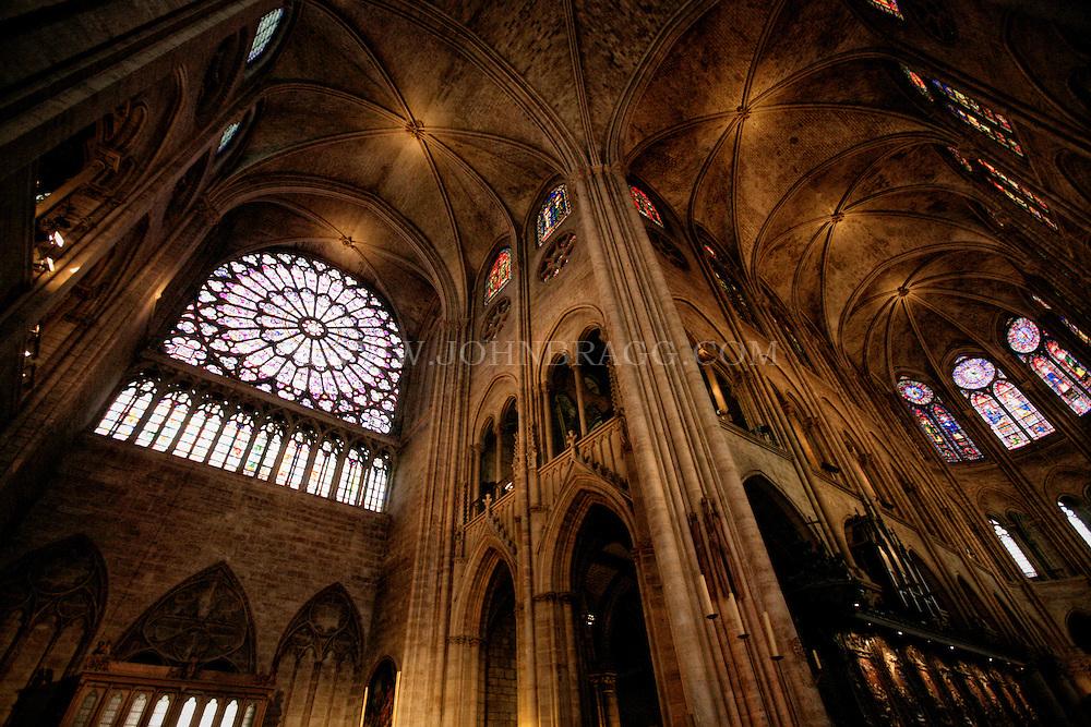 The Rose Window taken inside Notre Dame Cathedral, Paris, France.