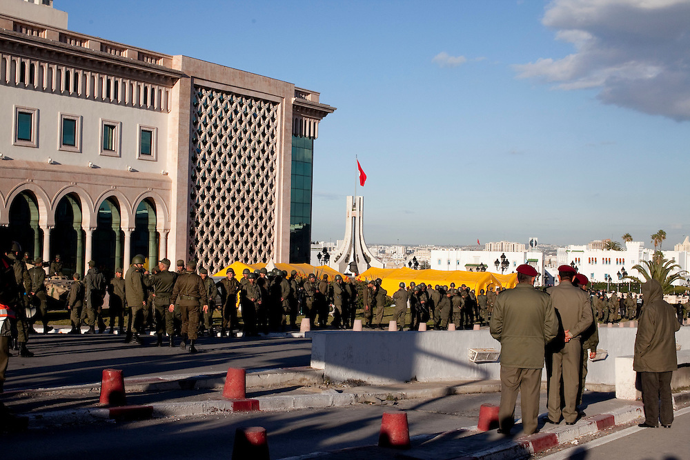 Tunis, Tunisia. January 28th 2011.The army appear to change its position.....