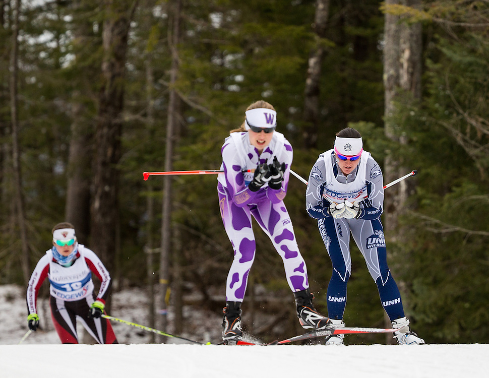 Maddy Pfeifer of the University of New Hampshire and Hannah Cole of Williams College, during the Williams Carnival 10km Freestyle on Friday February 19, 2016 in Lake Placid, NY. (Dustin Satloff)