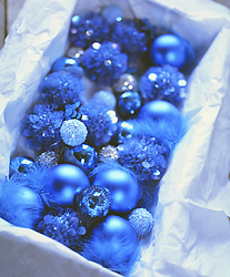 Close up of of a box full of blue Christmas baubles