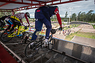 Riders on the start gate during practice at the 2016 UCI BMX Supercross World Cup in Santiago del Estero, Argentina