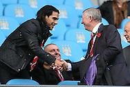 Former manager Sir Alex ferguson greets injured player Falcao - Barclays Premier League - Manchester City vs Manchester Utd - Etihad Stadium - Manchester - England - 2nd November 2014  - Picture David Klein/Sportimage