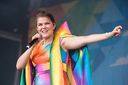 © Licensed to London News Pictures. 13/07/2019; Bristol, UK. SAARA AALTO, Eurovision, Dancing on Ice and X Factor, at Bristol Pride's 10th anniversary festival in 2019; earlier there was their biggest ever march with thousands of people march in the Pride Parade through Bristol with the rainbow flag in celebration for all sections of the LGBT community. The festival continues on Bristol Downs with an estimated 35,000 people attending. Photo credit: Simon Chapman/LNP.