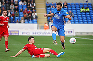 Peterborough United midfielder Colin Daniel (3) skips this challenge from Accrington Stanley defender Callum Johnson (2) during the EFL Sky Bet League 1 match between Peterborough United and Accrington Stanley at London Road, Peterborough, England on 20 October 2018.