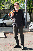 food shopper without a mask on his way to the store during Covid 19 crisis and lockdown France Limoux April 2020