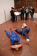 People dressed up in costume perform during the celebration of an ancient traditional carnival on January, 31st 2006 at the village of Zubieta, Basque Country. Joaldun groups take part in the carnival at the villages of Ituren and Zubieta carrying sheep furs and big cowbells on their backs to wake up the earth, looking for a good new year, a good harvest and to keep away the bad spirits.. Bostok Photo: Ander Gillenea