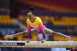 October 28, 2018 - Doha, Qatar - REBECA ANDRADE competes on the balance beam during the second day of preliminary competition held at the Aspire Dome in Doha, Qatar. (Credit Image: © Amy Sanderson/ZUMA Wire)