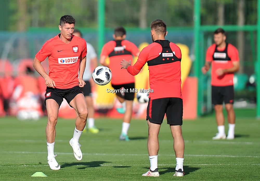 ARLAMOW, POLAND - MAY 31: Robert Lewandowski during a training session of the Polish national team at Arlamow Hotel during the second phase of preparation for the 2018 FIFA World Cup Russia on May 31, 2018 in Arlamow, Poland. (MB Media)