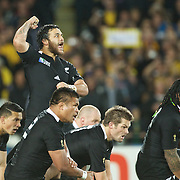 Piri Weepu, New Zealand, leads the teams Haka before the New Zealand V Australia Semi Final match at the IRB Rugby World Cup tournament, Eden Park, Auckland, New Zealand, 16th October 2011. Photo Tim Clayton...