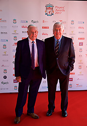 LIVERPOOL, ENGLAND - Tuesday, May 9, 2017: Former Liverpool manager Roy Evans and player Ian Callaghan arrive on the red carpet for the Liverpool FC Players' Awards 2017 at Anfield. (Pic by David Rawcliffe/Propaganda)