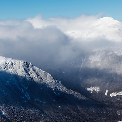 The Northern Presidentials as seen from Mount Washington in New Hapmshire's White Mountains. Winter.