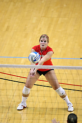 16 AUG 2008: Amy Olson receives a serve and passes to the setter during the annual Red-White intra-squad scrimmage at Redbird Arena on the campus of Illinois State University in Normal Illinois.