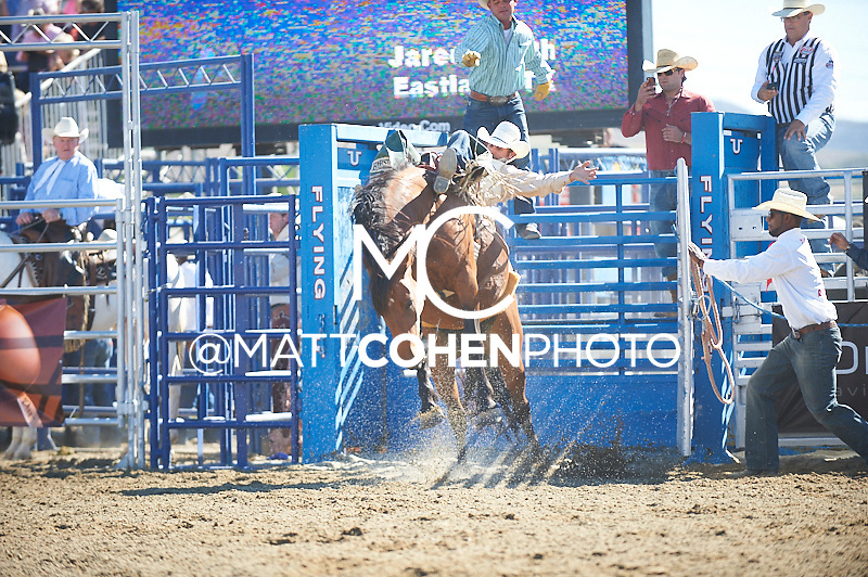 Bareback rider Jared Smith of Eastland, TX rides R22 Control Freak at the Rancho Mission Viejo Rodeo in San Juan Capistrano, CA.<br /> <br /> <br /> UNEDITED LOW-RES PREVIEW<br /> <br /> <br /> File shown may be an unedited low resolution version used as a proof only. All prints are 100% guaranteed for quality. Sizes 8x10+ come with a version for personal social media. I am currently not selling downloads for commercial/brand use.